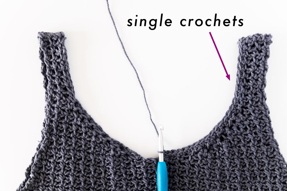 single crochets worked along round neckline of camisole