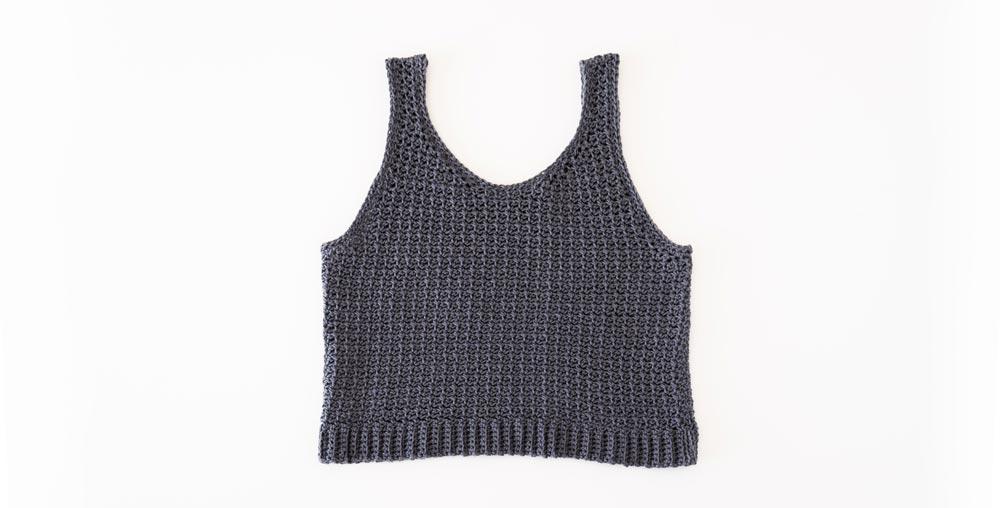 finished mesh crochet tank top flat lay