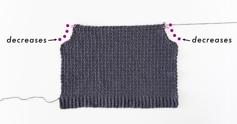 armhole decreases along edges of crochet mesh singlet