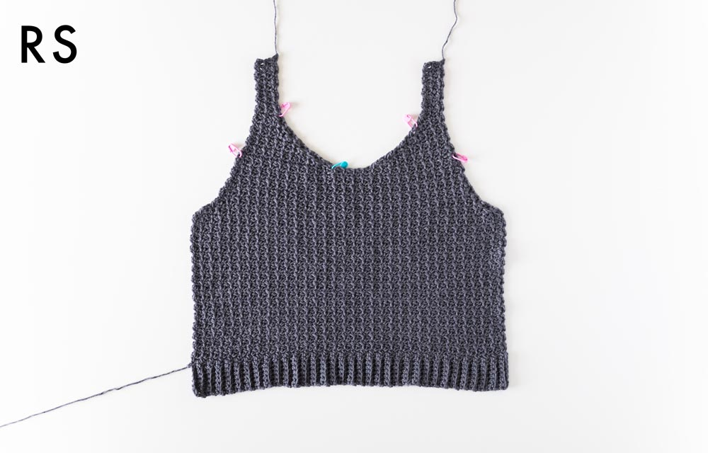 finished body panel of crochet mesh tank top