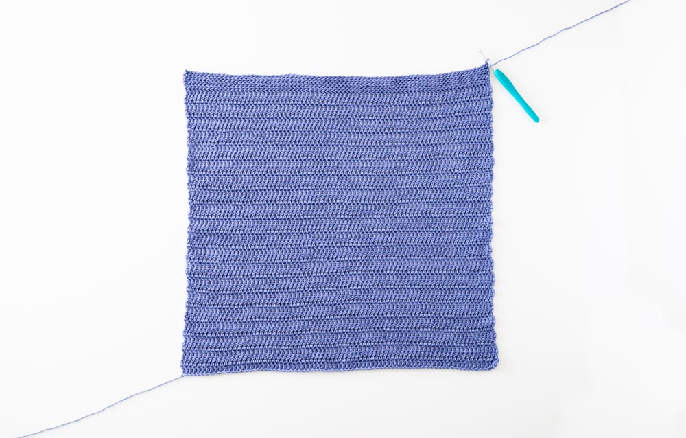 finished body panel of pima cotton crochet tee