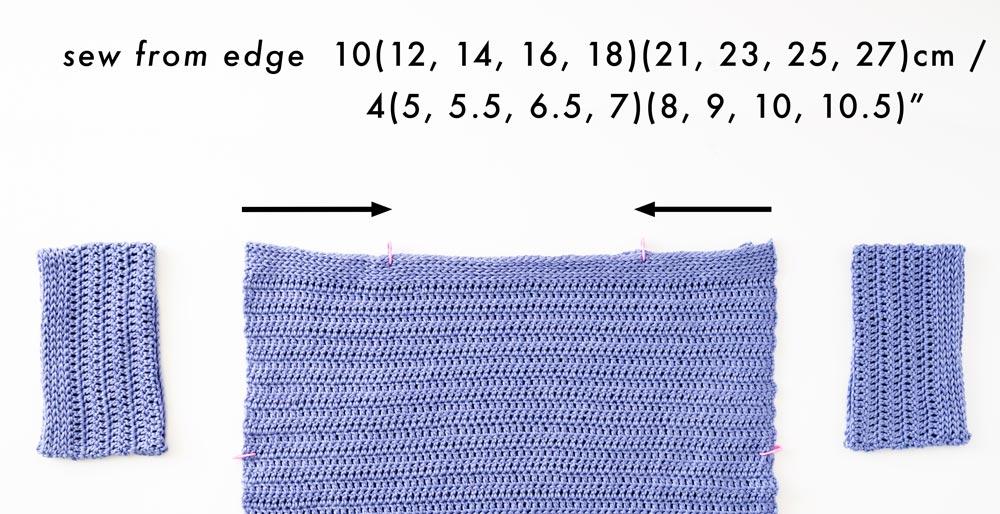 crochet top shoulder seams measurements