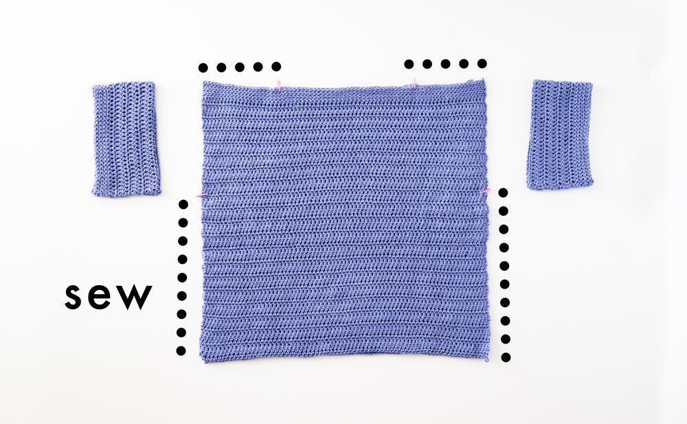 assembly of beginner crochet top rectangles