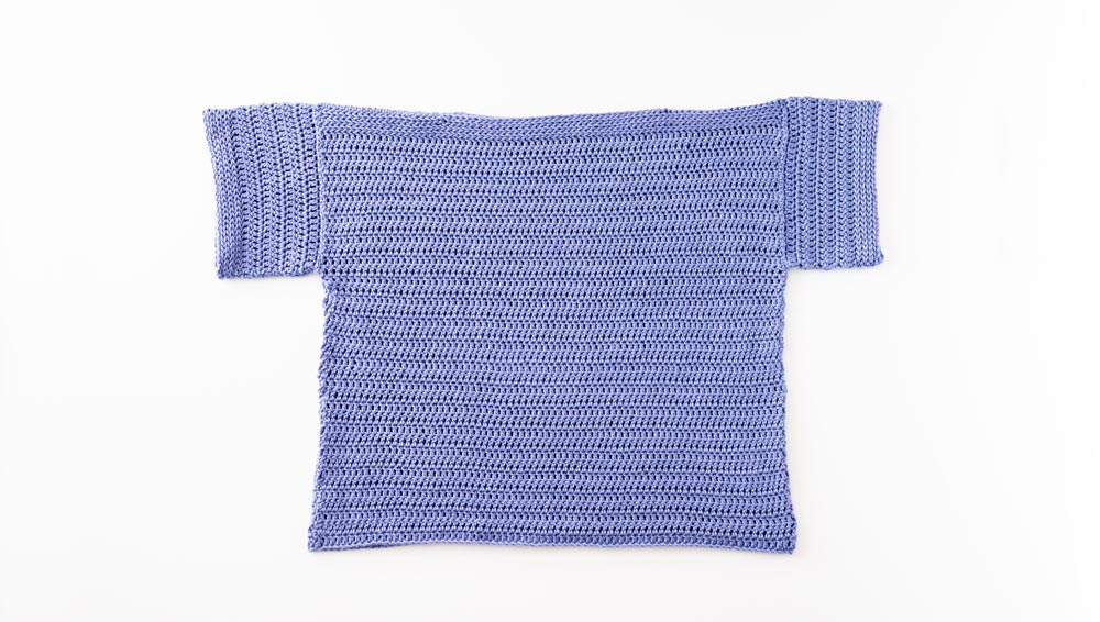 flat lay of crochet tee made out of rectangles