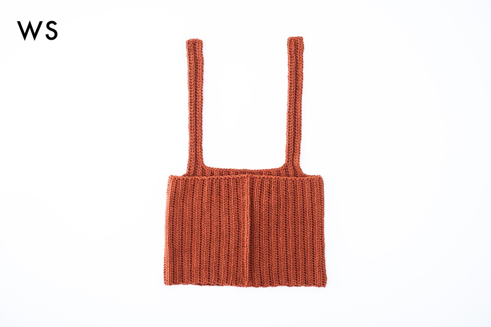 wrong side of ribbed crop top facing outwards