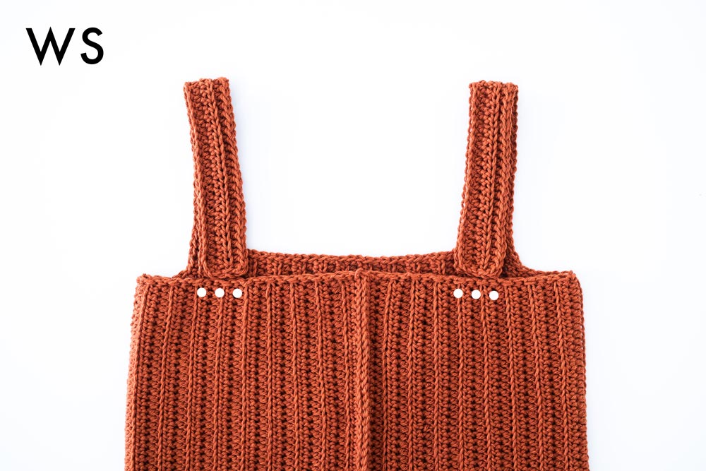 ribbed crochet camisole straps folded in half to be sewn onto back panel