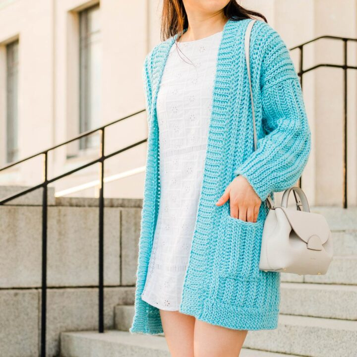 long oversized ribbed crochet cardigan with pockets and slouchy sleeves
