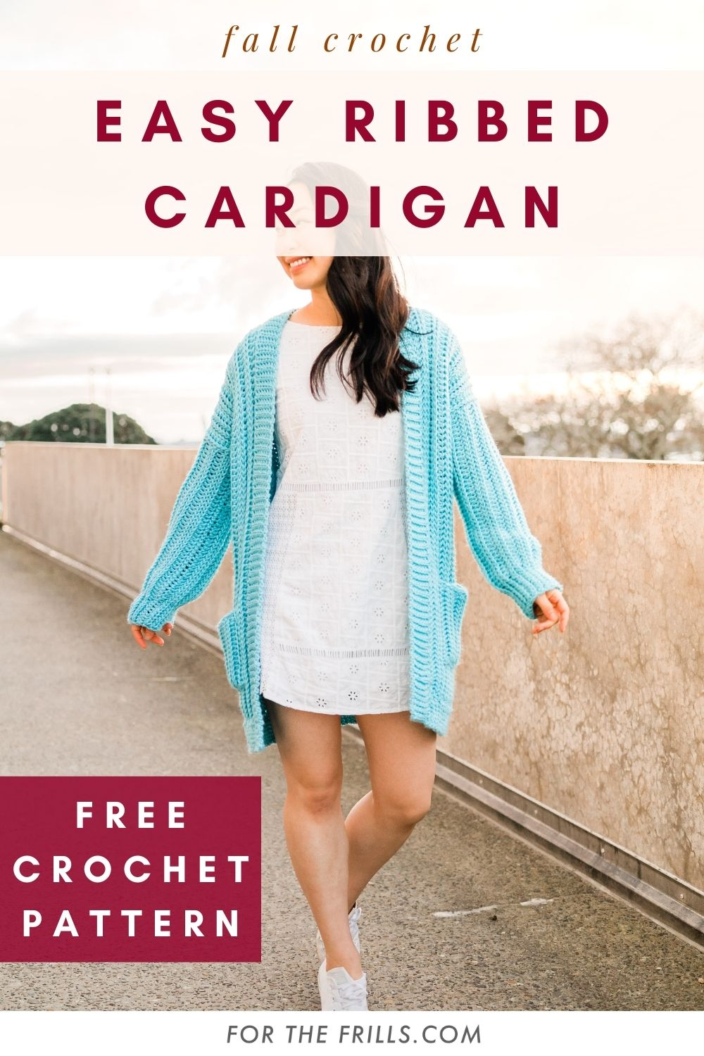 pinterest image of long ribbed crochet cardigan with pockets