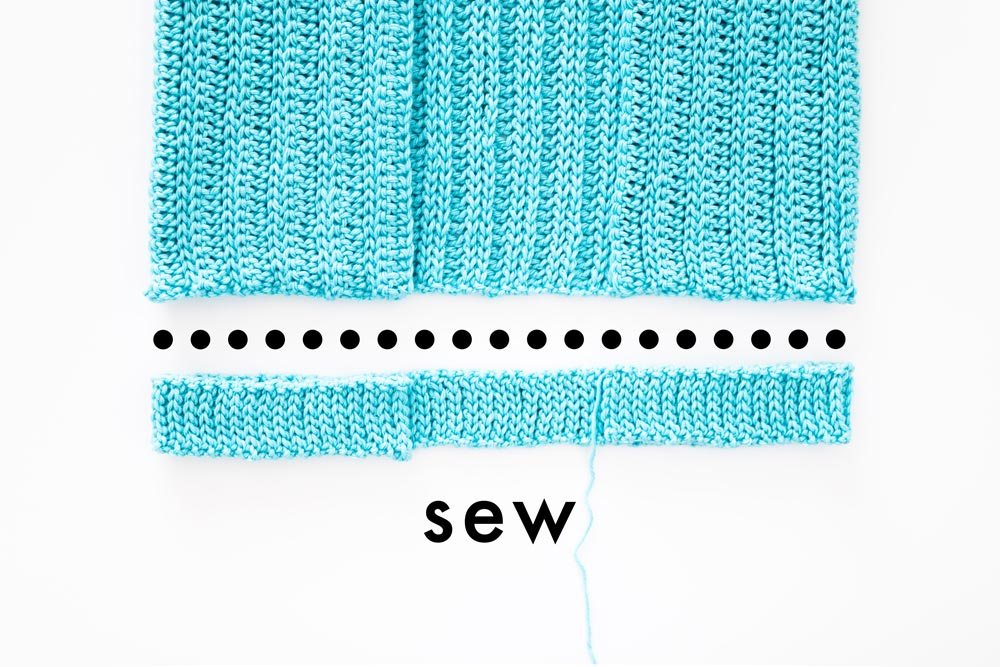 slip stitch ribbing to be sewn onto cardigan body panel