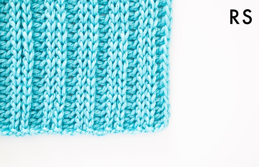 right side of crochet knit-look ribbing in bulky yarn