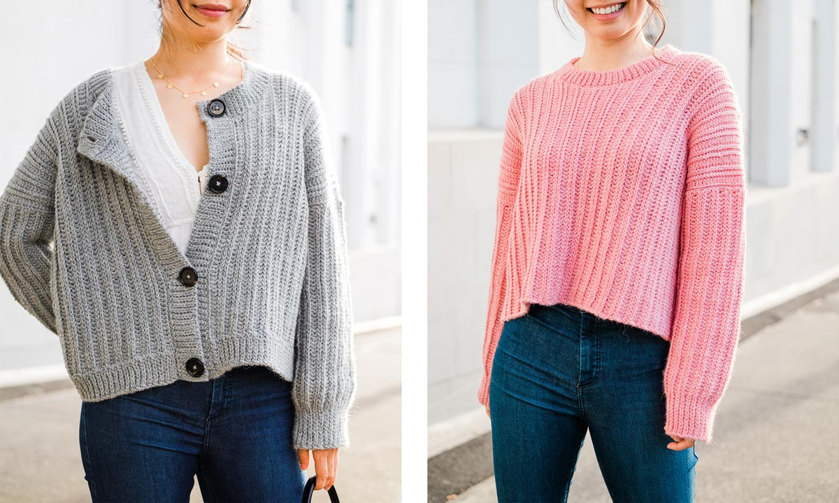 2 photos of ribbed button down crochet cardigan in grey alpaca yarn and pink cropped sweater