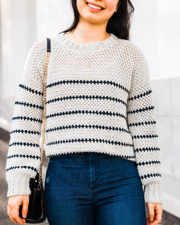 moss stitch crochet sweater with navy stripes