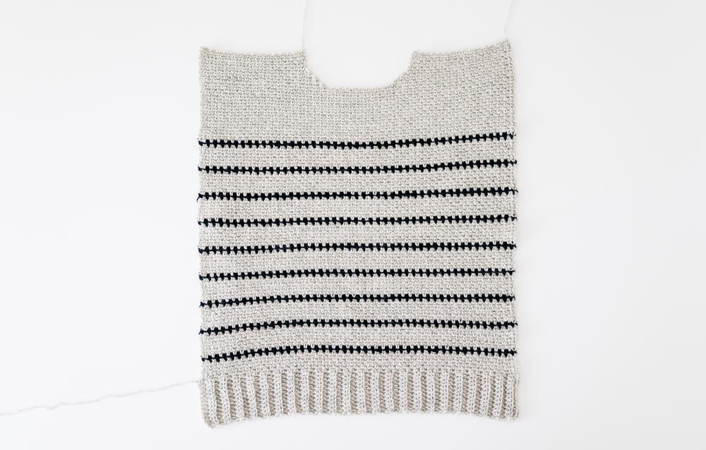 finished front panel of striped linen stitch crochet sweater