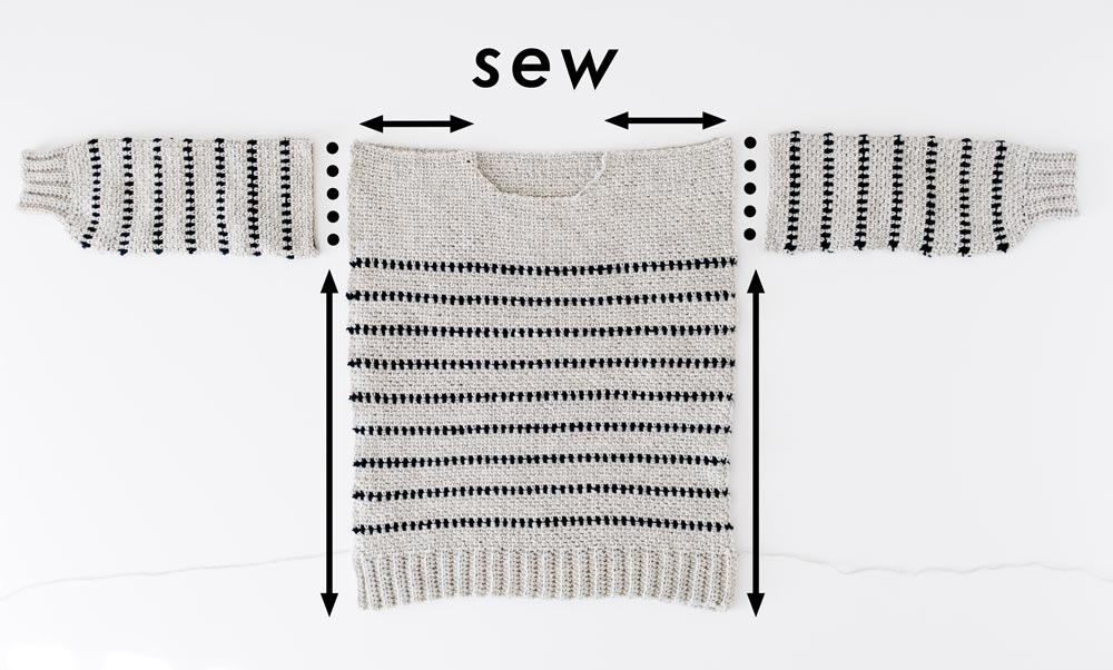 assembly of back panel, front panel and sleeves of striped crochet sweater