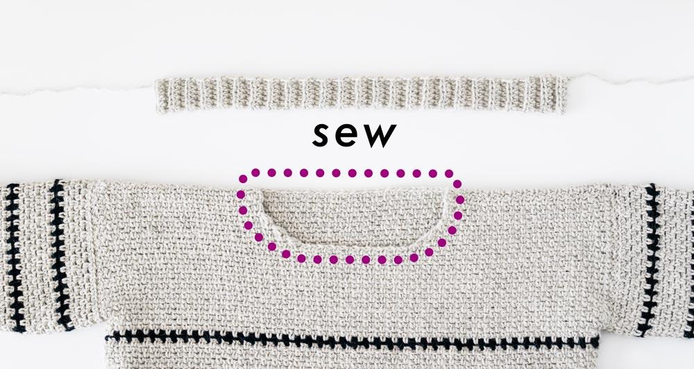 neckline ribbing sewn onto round neck opening of crochet pullover