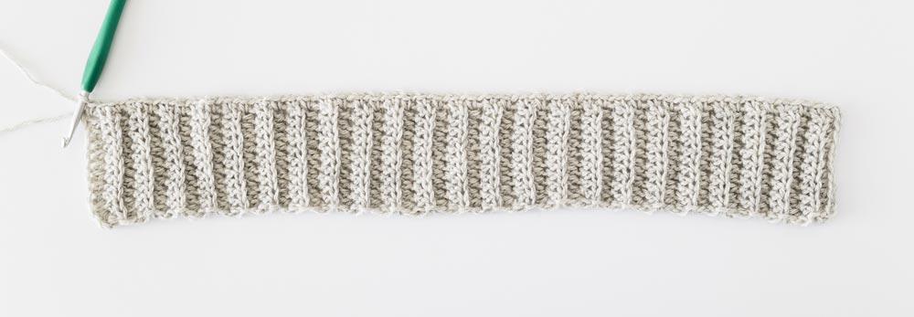 first row of linen stitch across crochet ribbing