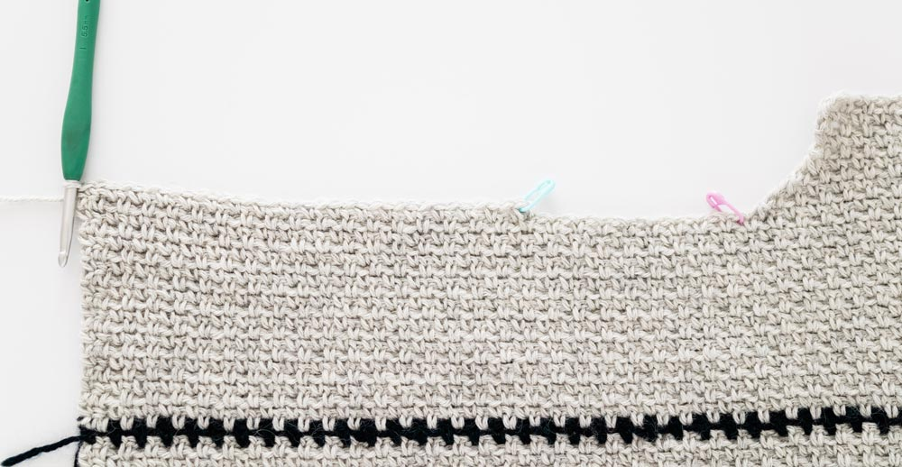 row 1 second side of crochet sweater shoulder shaping